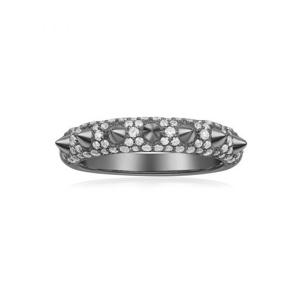 DARK GRAY GREY SILVER 'Hérisson' RING