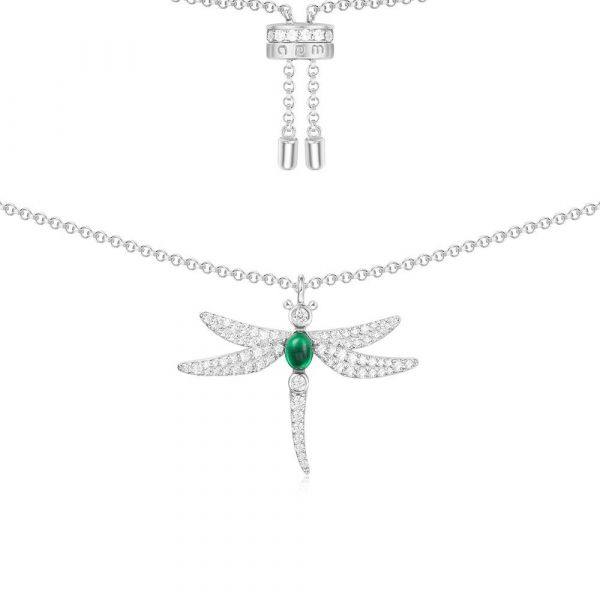 Silver Green Dragonfly Necklace