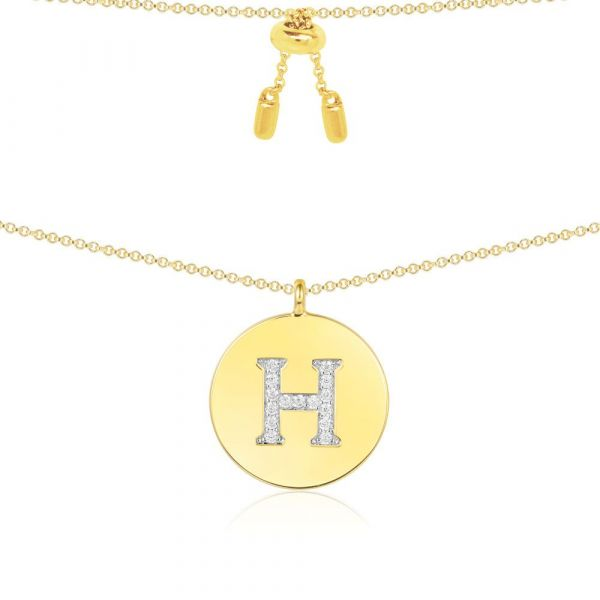 YELLOW SILVER ALPHABET-H NECKLACE