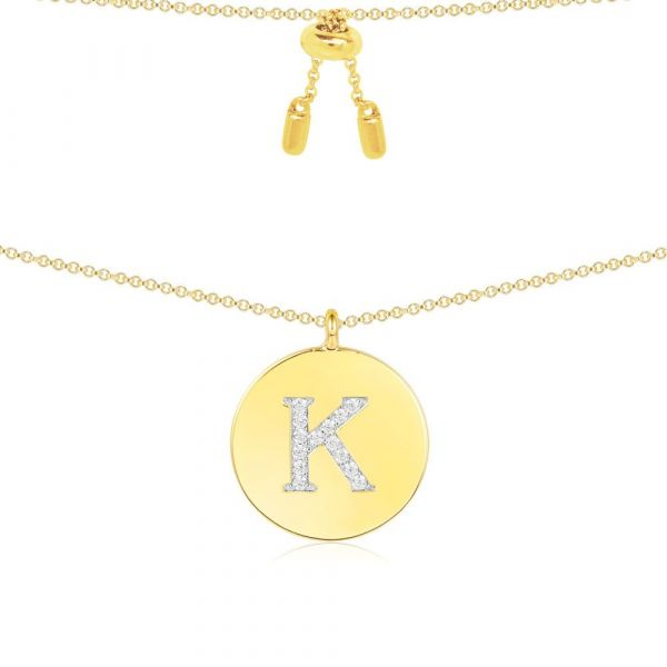 YELLOW SILVER ALPHABET-K NECKLACE