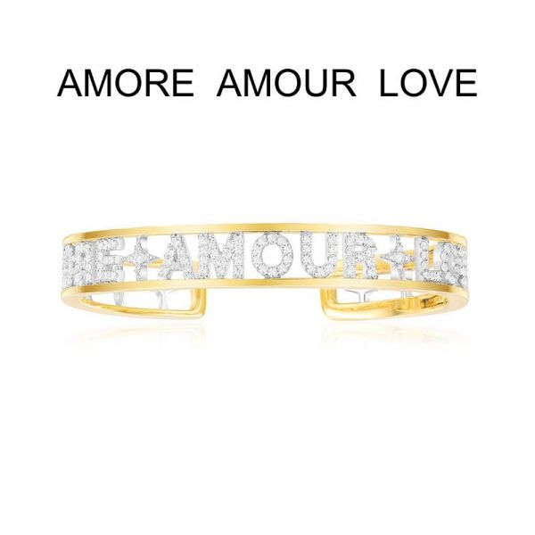 YELLOW SILVER 'AMORE AMOUR LOVE' open cuff