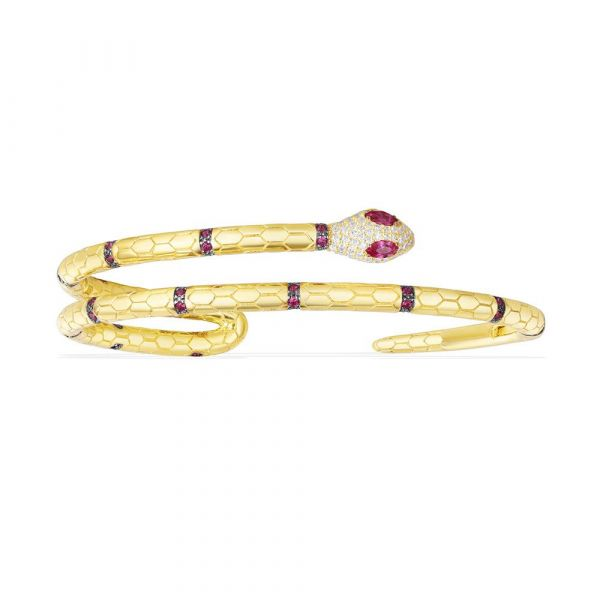 Yellow Silver Uraeus Bracele With Synthetic Red Stone
