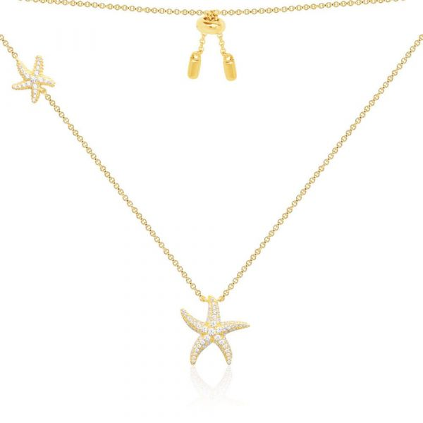 Yellow silver double seastars necklace